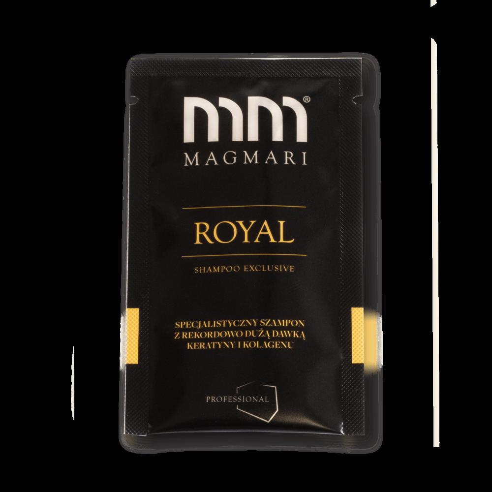 Zdjęcie produktowe. Czarny produkt. Złoty korek. Złoty napis. Srebrne logo. Biały napis. Royal. Szampon Royal.