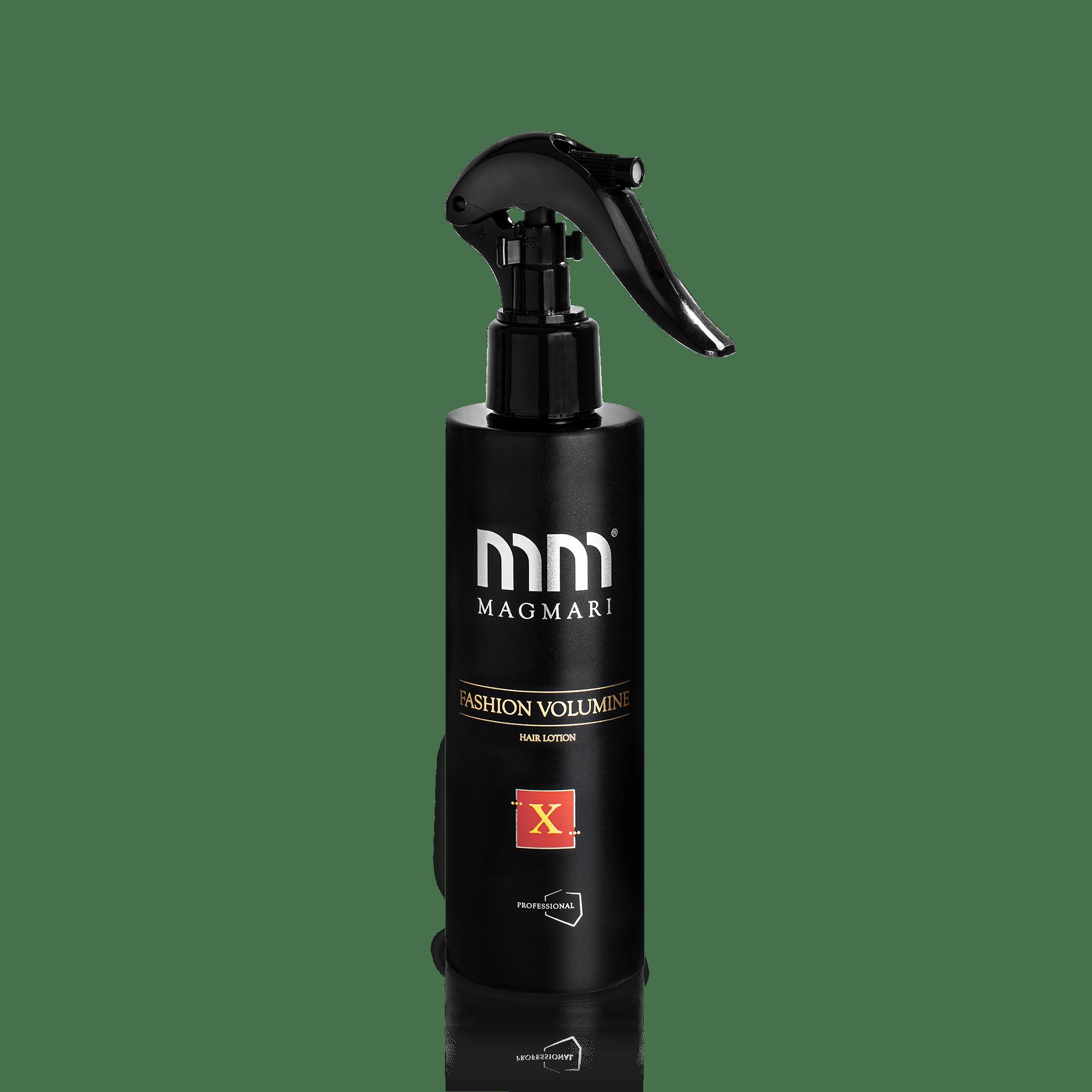 Zdjęcie produktowe. Zdjęcie produktowe na białym tle. Czarny produkt. Lotion fashion volumine. Profesjonalna mgiełka do włosów.